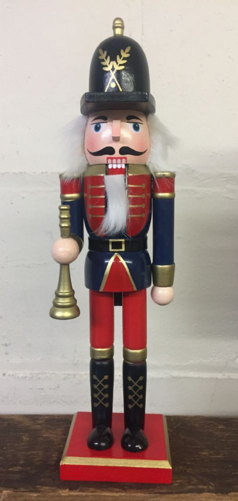 Hand Painted Wooden Nutcracker Traditional Christmas Ornament ~ Carrying Trumpet